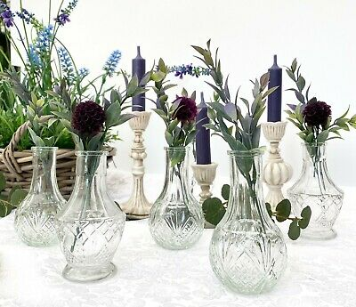 £9.99 • Buy Set Of 3 Small Clear Glass Bottles Ribbed Bud Vase Vintage Style Wedding Table