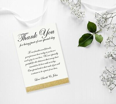 £2.99 • Buy Personalised Thank You Cards For Weddings, Engagement, Birthday Party Guests A6