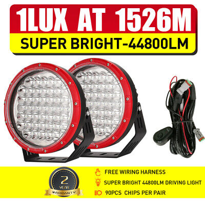 AU115.99 • Buy RED 9inch OSRAM LED Driving Lights Pair Round Combo Spot Flood Work Offroad SUV