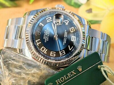 AU17780 • Buy [Rare] 2010 Rolex Oyster Perpetual DateJust 36 White Gold Bezel Blue/Black Set