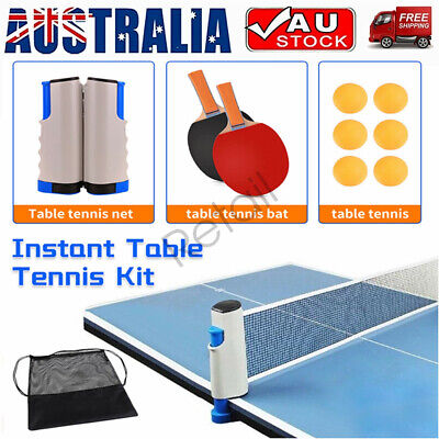 AU20.99 • Buy Table Tennis Set Ping Pong Kit Retractable Net Rack+6 Balls + 2 Bats+Storage Bag