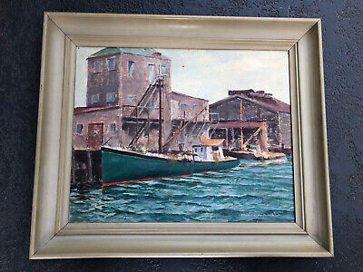 $295 • Buy Listed John Winthrop Andrews 1879 -1964 Nantucket MA Boats - Harbor Oil Painting