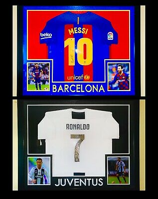 AU4507.70 • Buy Lionel Messi & Cristiano Ronaldo Framed Signed Jerseys (Beckett Authentication)