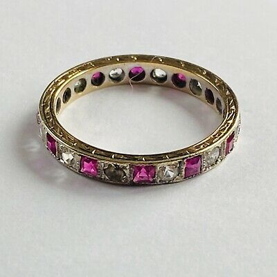 £145 • Buy 9ct Gold Ruby Spinel Full Eternity Ring Hallmarked Size M Art Deco Design