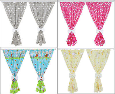 £17.99 • Buy Nursery Curtains Baby Child Kids Bedroom Window Decoration Bows Pincer Clips