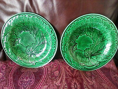 £25.99 • Buy Victorian Majolica Cabbage Leaf Plates X 2 Possibly Wedgewood