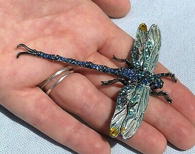 £17.95 • Buy Large Vintage Style Jewellery Enamel Crystal DRAGONFLY Articulated Pin Brooch