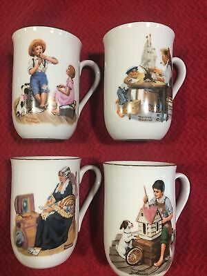 $ CDN18.13 • Buy NORMAN ROCKWELL Museum, Inc. 1982 Coffee Mugs Set Of 4  Preowned Gold Trim
