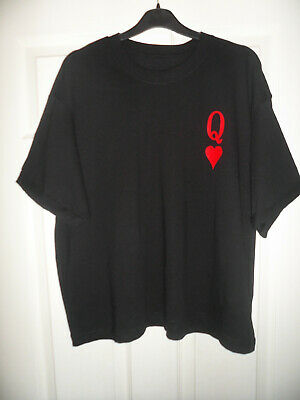 £9.99 • Buy QUEEN OF HEARTS Boxy T-Shirt Black With Red Tatoo Playing Cards UK Size 12 - 14