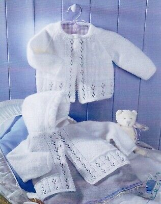 £2.60 • Buy Baby DK Knitting Pattern Matinee Cardigan 2 Designs  Sizes 16-22 Inches #341