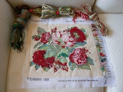 Vintage Ehrman Blooming Roses Cream 1996 David Merry Tapestry Kit To Complete  • 38£
