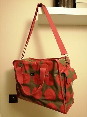 Caboodle Baby Changing Nappy Maternity Bag Red Grey Spots Multiple Pouches  • 6£