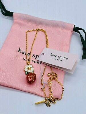 $ CDN30.35 • Buy Kate Spade White Flowers Red Strawberries Drop Necklace Free Shipping