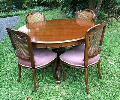 AU242.50 • Buy 7 Piece Dining Set With Extension Table Round To Oval & 6 Velvet & Rattan Chairs