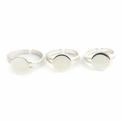 £5.89 • Buy Solid Sterling Silver RING BLANK (M) Pad Adjustable Silver Ring To Glue On Cabs