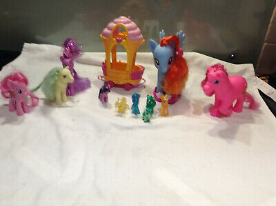 MY LITTLE PONY Carriage And 11 PONIES (4 Mini Sparkle Ponies) • 8£
