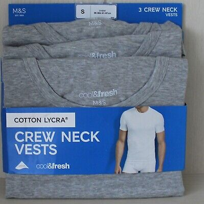 £16.99 • Buy Mens M&S Size S Cotton Lycra 3 Pack Cool & Fresh Vests T Shirts Free Postage