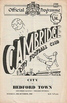 £4 • Buy Cambridge City V Bedford Town, 25 October 1960, Southern League