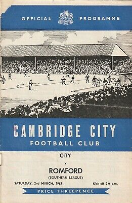 £4 • Buy Cambridge City V Romford, 2 March 1963, Southern League