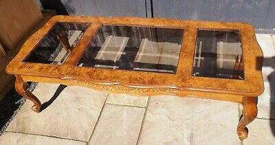 £25 • Buy Large Antique Style Cabriole Legs Three Pane Wood & Glass Coffee Table