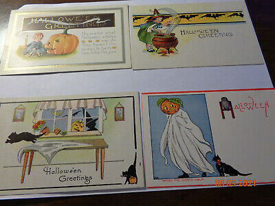 $ CDN41.48 • Buy LOT OF 4 ANTIQUE EARLY 1900s HALLOWEEN POSTCARDS