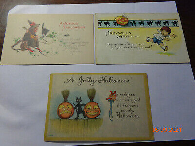 $ CDN27.80 • Buy LOT OF 3 ANTIQUE EARLY 1900s HALLOWEEN POSTCARDS