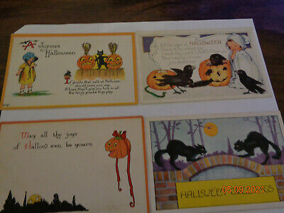$ CDN36.26 • Buy LOT OF 4 ANTIQUE EARLY 1900s HALLOWEEN POSTCARDS