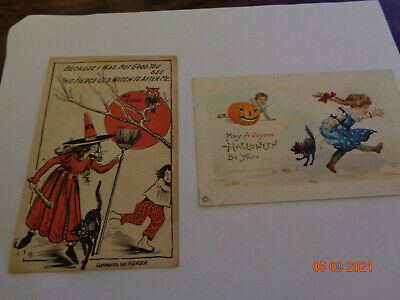 $ CDN42.31 • Buy LOT OF 2 ANTIQUE EARLY 1900s HALLOWEEN POSTCARDS