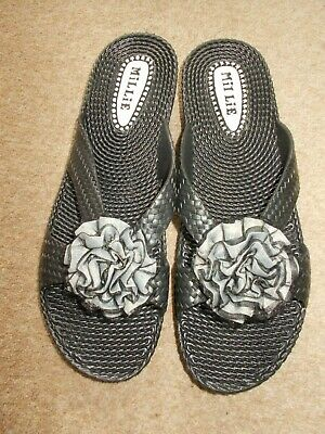 £2.99 • Buy MILLIE Ladies Black Mules With - Size  7 (40) - NEW