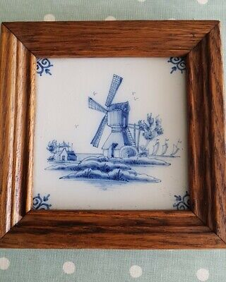 £4.99 • Buy Vintage Blue & White Delft Style Ceramic Till  In Solid Wooden Frame. Windmill