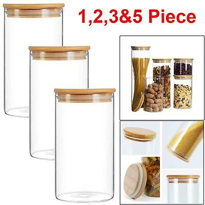 £13.99 • Buy 3pc Kitchen Glass Jar High Quality Container Storage Airtight Bamboo Lids 900 Ml
