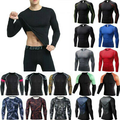 £13.39 • Buy Men Compression Base Layer Sports Workout Gym Shirt Long Sleeve Tee T-Shirt Tops