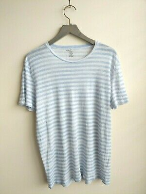 $21.25 • Buy Majestic Paris Filatures Linen Top Blue Striped Short Sleeve Made In Portugal XL