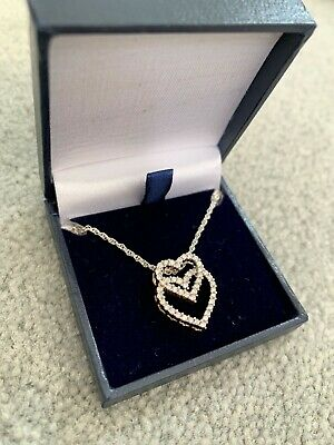 £200 • Buy 18 Carat 18CT Gold 0.24CT Diamond Heart Necklace Sterling Silver Chain 16