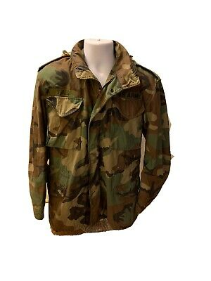 $17.21 • Buy US Army M-65 Woodland Camouflage Cold Weather Field Jacket Coat Men Small-Long