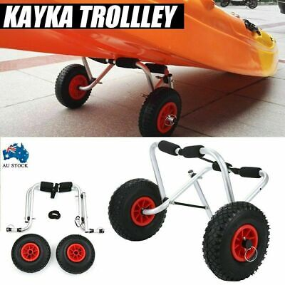 AU60.11 • Buy Foldable Kayak Canoe Trolley With Strap Aluminium Collapsible Wheel Cart Carrier