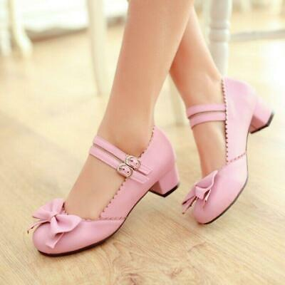 $ CDN44.72 • Buy Plus Size 34-50 Womens Bowknot Mary Jane Chunky Low Heel Pumps Ankle Strap Shoes