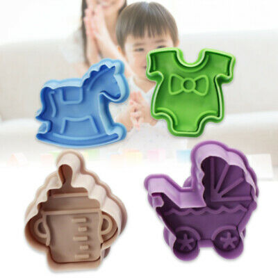 £5.75 • Buy 4PCS/Set Stamp Plunger Cutter Cookie Mold Hand Press 3D Baby Clothes Shower