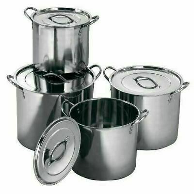 £29.95 • Buy 4pc Large Stainless Steel Catering Deep Stock Soup Boiling Cooking Pot Set