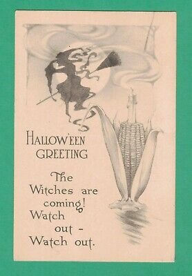 $ CDN90.69 • Buy Vintage Pink Of Perfection Halloween Postcard Witch Broom Moon Candle On Corn