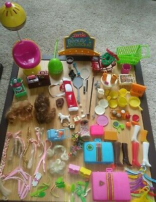 $ CDN48.53 • Buy Vintage 1970s BARBIE And Clone ACCESSORIES LOT-Wigs, Luggage, Sporting Equip