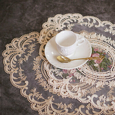 £3.79 • Buy Lace Fabric Embroidered Placemats Heat-resistant Dining Table Mats Pad Doilies