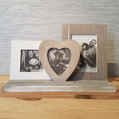 £14.99 • Buy Wooden Heart Triple Photo Frame Shabby Chic Picture Holder New Rustic Home Decor