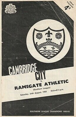 £3 • Buy Cambridge City V Ramsgate Athletic, 24 August 1968, Southern League