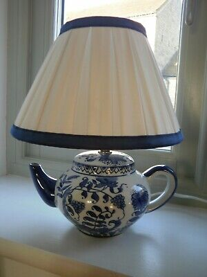 £23.99 • Buy CeramicTeapot Table Lamp. BHS. Cottage Style. Blue And White + Shade.