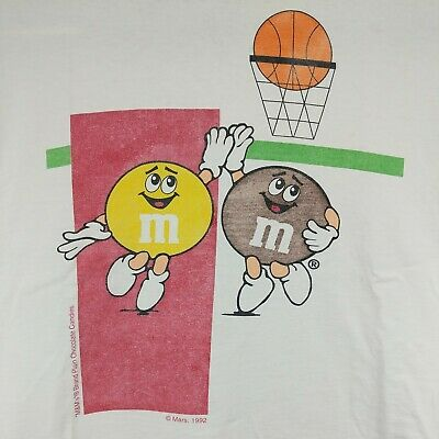 $74.97 • Buy Vintage 1992 M&M's Candy Basketball Mars Chocolate Adult Large T-Shirt White Tee