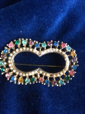 DOUBLE JEWELLED COLOURFUL HORSESHOE VINTAGE BROOCH -Pretty Inherited Piece • 9.99£
