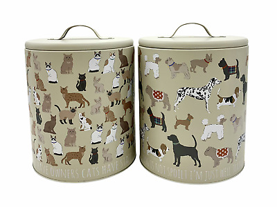 £11.99 • Buy Pet Food Dog Cat Print Tin Metal Storage Container Canister Biscuit Treat Jar