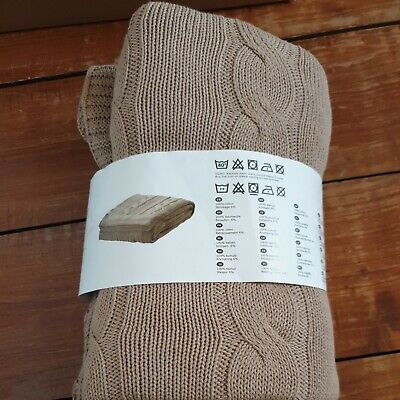 £17.99 • Buy IKEA URSULA Cable Knit Throw Cotton Blanket Beige 120x180 New