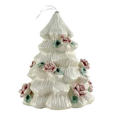 $ CDN24.13 • Buy Vintage Christmas Tree Bell Ceramic White W/Pink/Green Country Roses 4.5  EX-824